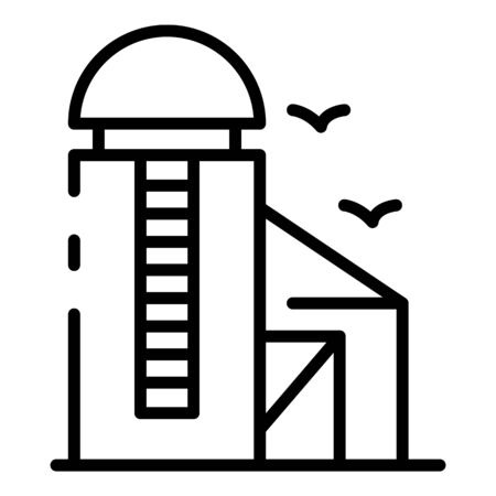 Smart farm barn icon, outline style