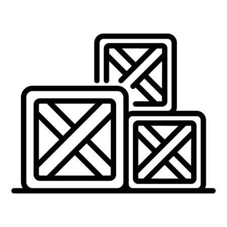 Farm box icon. Outline farm box vector icon for web design isolated on white background 일러스트
