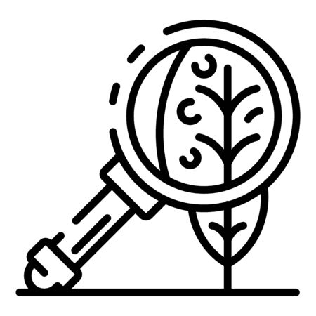 Leaf under magnify glass icon, outline style Illustration