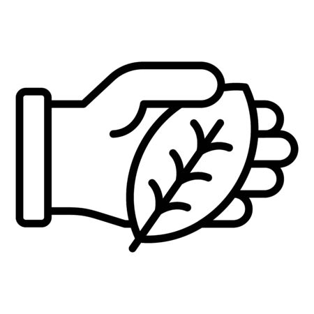 Hand keep leaf icon, outline style