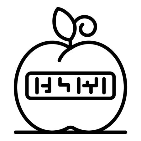 Smart eco apple icon, outline style
