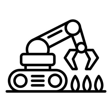Farming robot seed plant icon, outline style