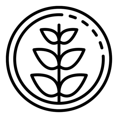 Plant in circle icon, outline style Çizim