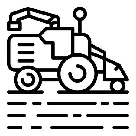 Field working harvester icon. Outline field working harvester vector icon for web design isolated on white background