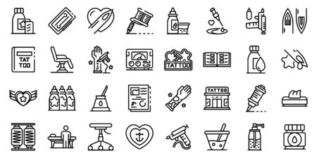Tattoo studio icons set. Outline set of tattoo studio vector icons for web design isolated on white background