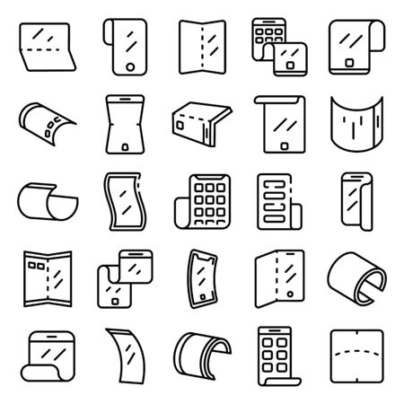 Flexible screen icons set, outline style