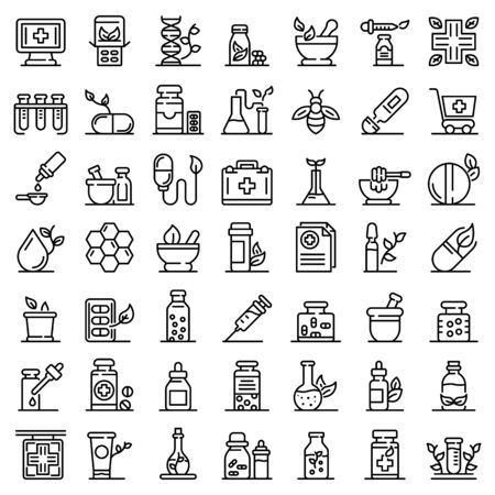 Homeopathy icons set. Outline set of homeopathy vector icons for web design isolated on white background Imagens - 133132691