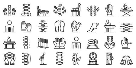 Ensemble d'icônes d'ostéopathie, style de contour Vecteurs