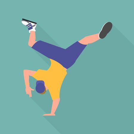 Break dancer icon, flat style