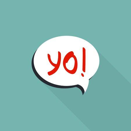 Bubble speech yo icon. Flat illustration of bubble speech yo vector icon for web design