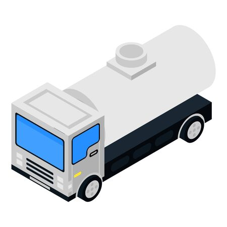 Petrol tank truck icon, isometric style