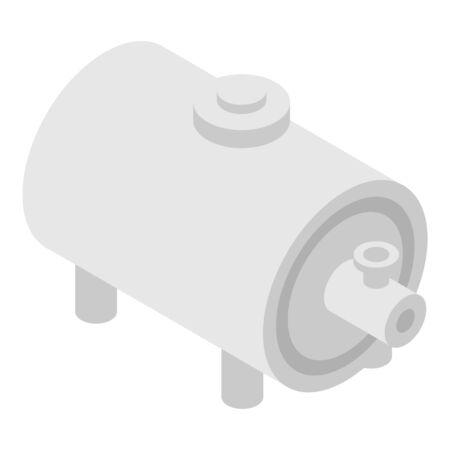 Petrol steel tank icon, isometric style