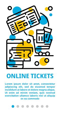Online tickets banner, outline style