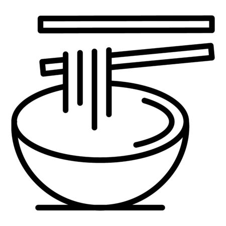 Chinese ramen icon, outline style Illustration