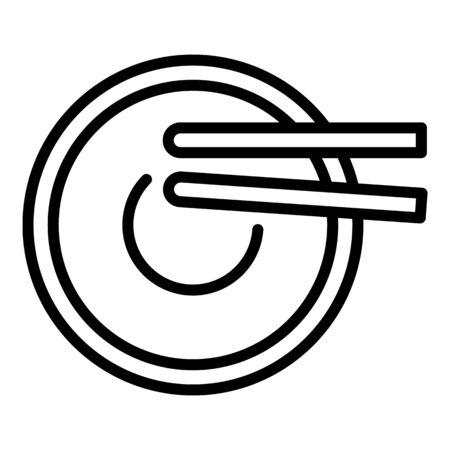 Top view ramen icon, outline style Archivio Fotografico - 133312058