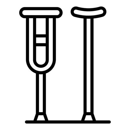 Crutches walking stick icon, outline style