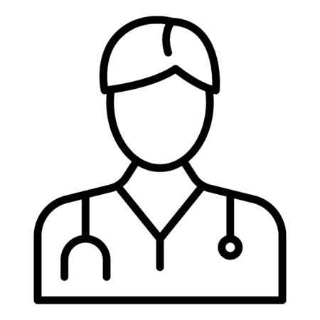 Doctor icon, outline style Illustration