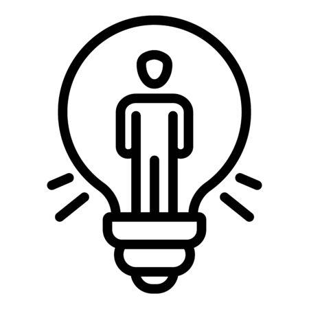 Man bulb idea icon, outline style Ilustrace