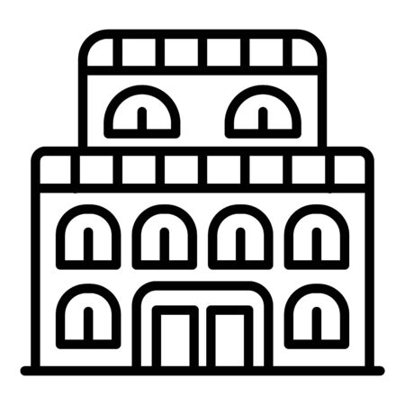 Old exhibition building icon, outline style