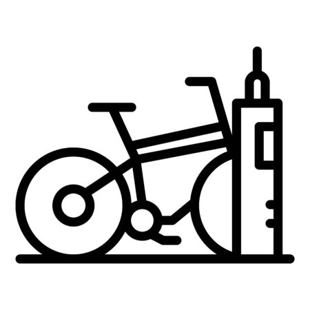 Bike rent stand icon, outline style Illustration
