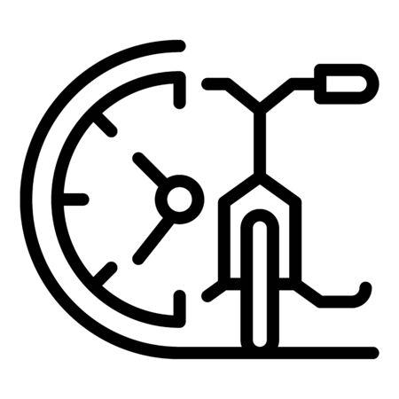 Time of bike rent icon, outline style Archivio Fotografico - 133469991