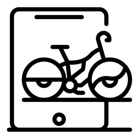 Tablet online bike rent icon, outline style Illustration