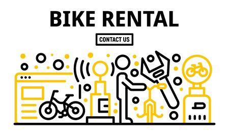 Banner de alquiler de bicicletas, estilo de contorno