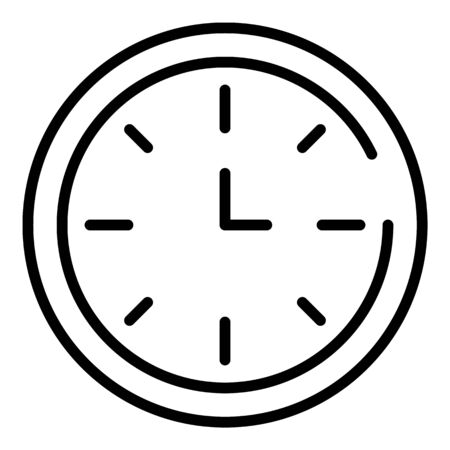 School clock icon, outline style