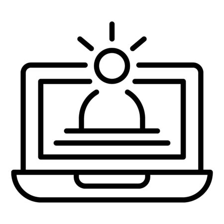 Education with a laptop icon, outline style Illustration