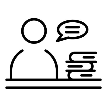 Man near the stack of books icon, outline style