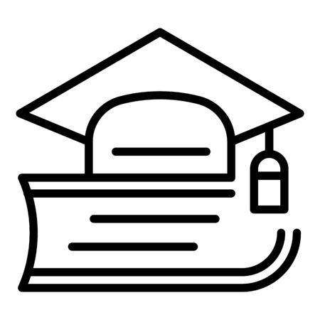 Academic hat on a textbook icon, outline style