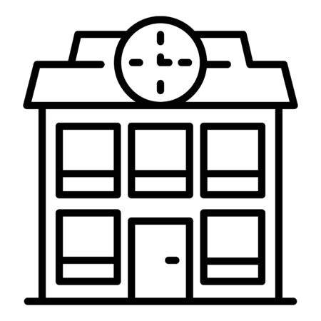 School building icon, outline style Illustration
