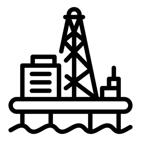 Offshore oil production icon, outline style