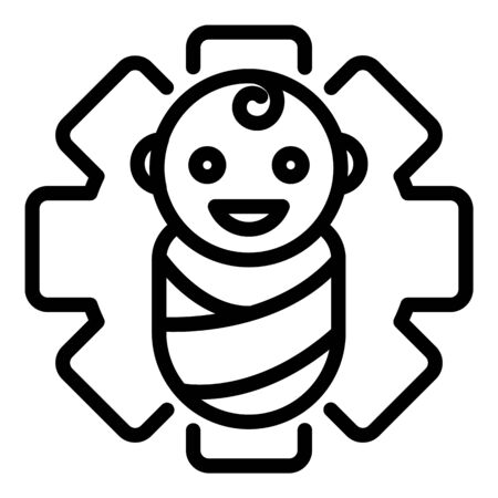Baby and medical cross icon, outline style