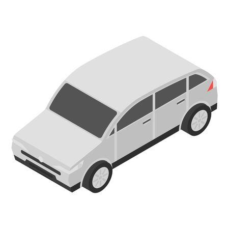 Grey car icon, isometric style
