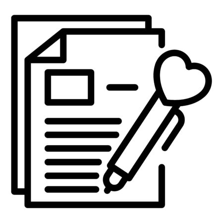Pen with a heart documents icon, outline style