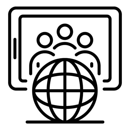 Globe and tablet icon, outline style