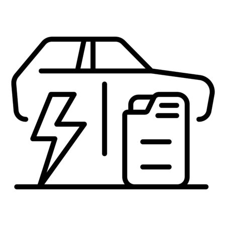 Electric car versus fuel car icon, outline style