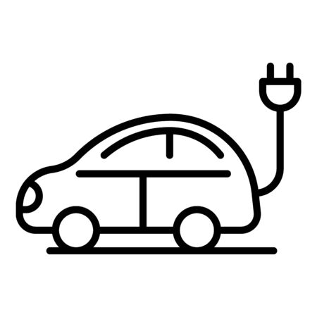 Electric car with plug icon, outline style