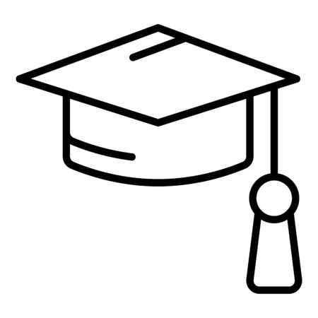 Academic hat icon, outline style