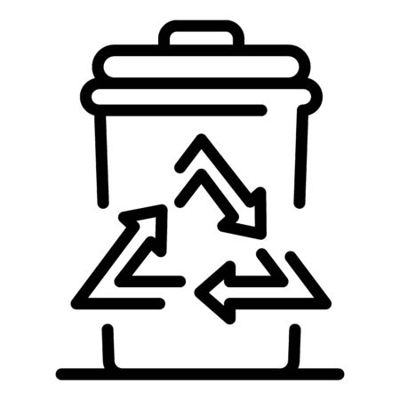 Garbage bin icon. Outline garbage bin vector icon for web design isolated on white background