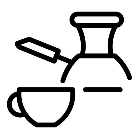 Hot coffee turkish cup icon. Outline hot coffee turkish cup vector icon for web design isolated on white background
