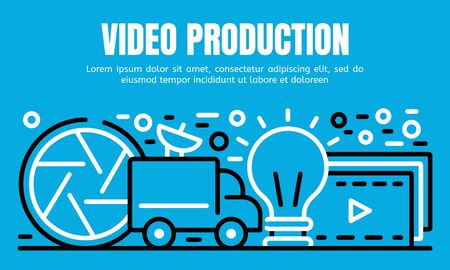 Video production banner. Outline illustration of video production vector banner for web design