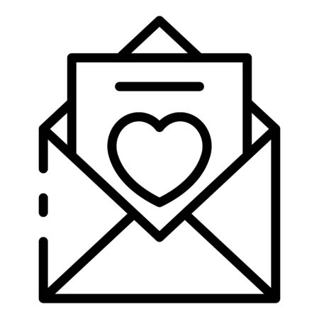 Envelope with love letter icon. Outline envelope with love letter vector icon for web design isolated on white background