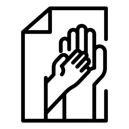 Hand of an adult and a child icon. Outline hand of an adult and a child vector icon for web design isolated on white background