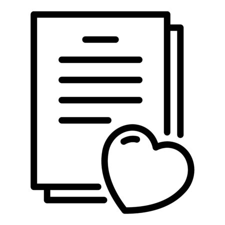 Heart and documents icon. Outline heart and documents vector icon for web design isolated on white background