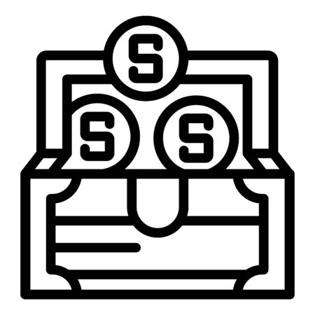 Money chest icon. Outline money chest vector icon for web design isolated on white background 스톡 콘텐츠 - 133416043
