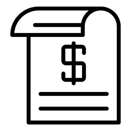 Cash check icon. Outline cash check vector icon for web design isolated on white background Illustration