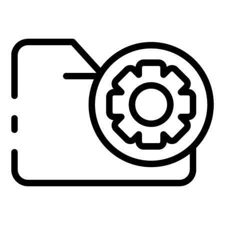 Folder with gear in a circle icon. Outline folder with gear in a circle vector icon for web design isolated on white background