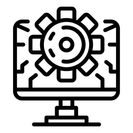 Computer and gear icon. Outline computer and gear vector icon for web design isolated on white background